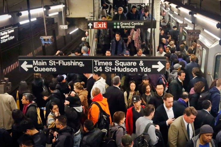 crowded subway station