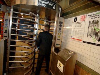 """Meat Grinder"" exit turnstiles in metro station"