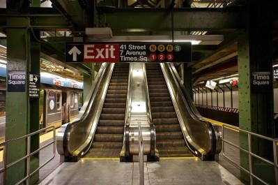 Metro exit with escalator layout