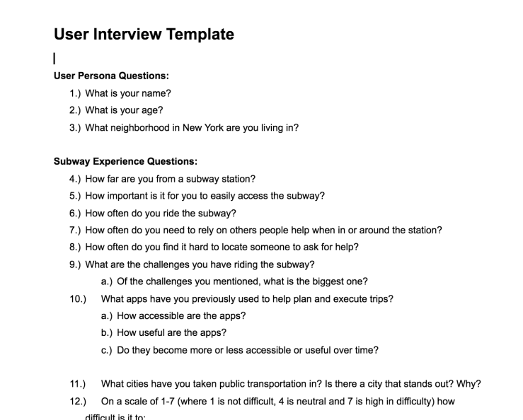 screenshot of user interview template from google doc